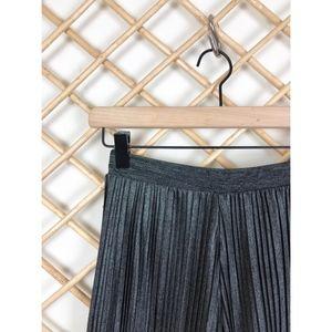 Bershka Pants - Pleated Metallic Culottes Cropped Pant